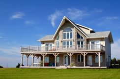 New Cottage. A new summer home under deep blue skies Royalty Free Stock Photos