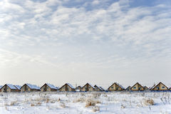 New cottages in winter Royalty Free Stock Images