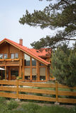 New Country Home. A country home made of wood.  New Construction Royalty Free Stock Photography