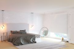 New cozy bedroom with big window and brick walls royalty free illustration