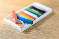 New crayons pastels color in box - back to school, education, arts Stock Photo