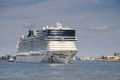 New cruise ship leaving Rotterdam, June 21-2010 Royalty Free Stock Photo