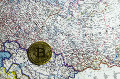 New crypto currency, bitcoin and computer fee finance map royalty free stock image
