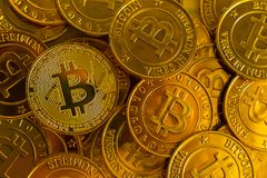 Crypto currency concept.Bitcoins ,Gold Coins ,Cryptocurrency wit. New crypto currency concept.Bitcoins ,Gold Coins ,Cryptocurrency with space for your Concept royalty free stock image