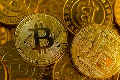Crypto currency concept.Bitcoins ,Gold Coins ,Cryptocurrency wit. New crypto currency concept.Bitcoins ,Gold Coins ,Cryptocurrency with space for your Concept stock images