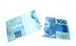 New currency from brazil. New currency design from brazil tear up royalty free stock photography