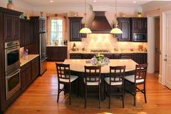 New custom kitchen. Extravagent kitchen with custom cabinets Stock Image