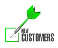 New customer check dart sign concept Stock Photo