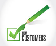 New customer check mark sign concept. Illustration design over white royalty free stock images
