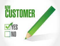 new customer check mark sign concept Stock Image