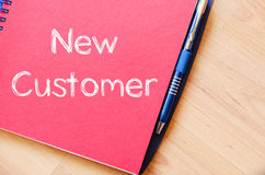 New customer concept on notebook Royalty Free Stock Photos