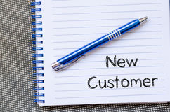 New customer concept on notebook Stock Photography