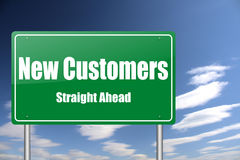 New customers traffic sign vector illustration