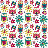New cute animal seamless pattern made with owls, flowers, nature, plants, leaves, triangles, circles Royalty Free Stock Photography