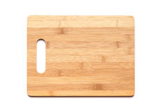 New cutting board made of bamboo on white Stock Photography