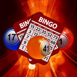 New 3D Bingo balls and cards on glowing background Stock Photos