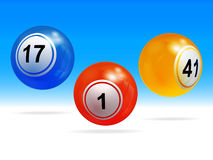 New 3D bingo lottery balls. 3D Illustration of Trio Bingo Lottery Balls with Shadows Over Blue and White Background Stock Photography