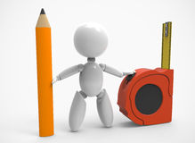 New 3D people-pencil,measuring tape Royalty Free Stock Images