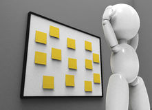 New 3D people - stickers. New 3D people holding his head on the numbers of tasks undone, yellow stickers Stock Images