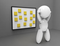 New 3D people - stickers. New 3D people holding his head on the numbers of tasks undone, yellow stickers Royalty Free Stock Photos