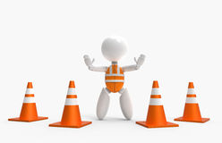 New 3D people - traffic cones and safety vest Stock Photos