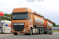 New DAF XF Tank Truck Being Refueled Stock Photo