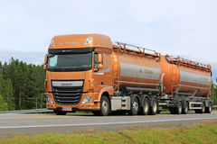 New DAF XF Tank Truck in Motion stock photography