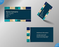 New dark blue business card layout Stock Photography