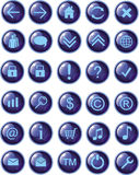 New dark blue web icons, buttons Stock Photos