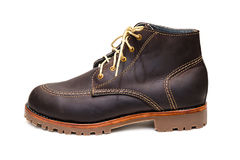 New dark brown color full grain nubuck leather boots Stock Photography