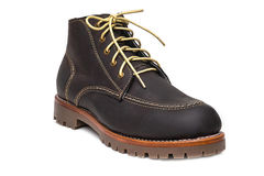 New dark brown color full grain nubuck leather boots with thick Stock Photos