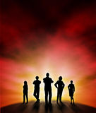 New dawn. Editable vector illustration of a business team silhouette standing at a new dawn with background made using a gradient mesh stock illustration
