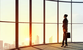 New day new opportunities. Back view of businesswoman in modern office facing sunrise Stock Photography
