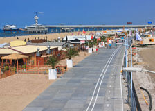 New De Pier Scheveningen Sea Side. New Beach of Scheveningen, the spa area of The Hague with De Pier as background in the early sunday mornin Royalty Free Stock Photos