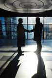 New deal. Business partners from financial corporation congratulating one another on new deal Royalty Free Stock Image
