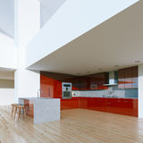 New decorated contemporary red Kitchen in luxury big home . 3D r Royalty Free Stock Photo