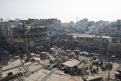 New Dehli city, India. Market. Street in New Dehli, India. Market, traffic and people royalty free stock photos