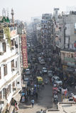 New Dehli city, India. Street in New Dehli, India. Traffic and people stock photo