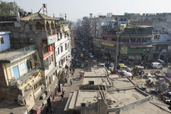 New Dehli city, India. Street in New Dehli, India. Traffic and people stock photography