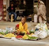 New Dehli Indien, Februari 19, 2018: Kvinnan säljer på frukter från tarpen Arkivbild