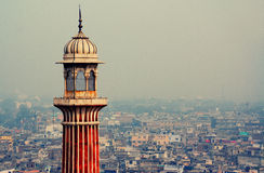 New Delhi. From above the tower of Jama Masjid Stock Photos