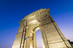 New Delhi Gateway of India at Blue Hour. A wide angle shot of the India Gate (formerly known as the All India War Memorial) at Rajpath, New Delhi Royalty Free Stock Image