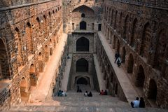NEW DELHI, INDIA - CIRCA NOVEMBER 2017: Stairs of Ugrasen ki Baoli. NEW DELHI, INDIA - CIRCA NOVEMBER 2017: Underground step-well Ugrasen ki Baoli in heart of stock images