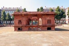 New Delhi, India - Februari 2019 Het Rode Complexe Fort, een historische gevestigde vesting van Mughal stock afbeelding