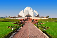 Lotus Temple, India. NEW DELHI, INDIA - FEBRUARY 12: Lotus Temple on February 12, 2014, New Delhi, India. The Bahai House of Worship in New Delhi, popularly stock photo
