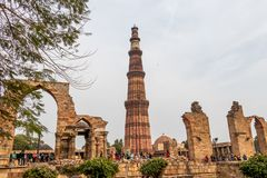 New Delhi, India - February 2019. Qutub Minar minaret at the Qutb complex. At 72.5 meters 237.8 ft the Qutb Minar is the tallest royalty free stock photo