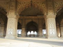New Delhi, India - January 2019: The details of intricate carvings around Rang Mahal Inside Red Fort In Delhi stock images