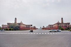 New Delhi, India - Jule 22: Rashtrapati Bhavan is the official home of the President of India. Cars moving on the road on Jule 22, Royalty Free Stock Photos