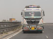 NEW DELHI, INDIA - MARCH 14, 2018: truck on the road. From New Delhi to Jaipur royalty free stock images