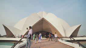New Delhi, India - November 28, 2018: People visiting Lotus Temple. Video using electronic stabilizer.